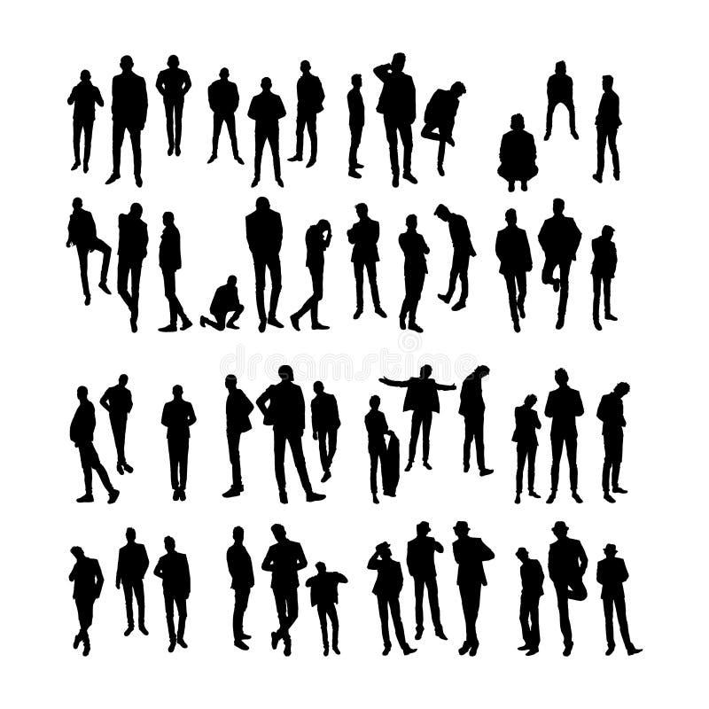 Modèle de vecteur Silhouettes des hommes. Partie 8. illustration de vecteur