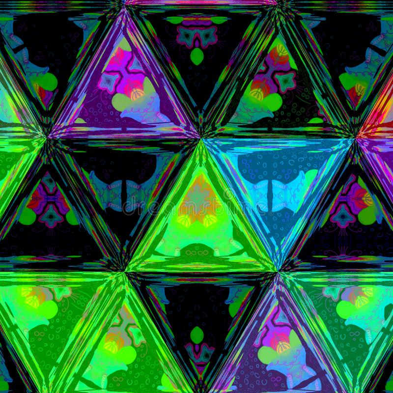 Modèle de vert d'aquarelle, noir et bleu vif de triangles de répétition illustration stock