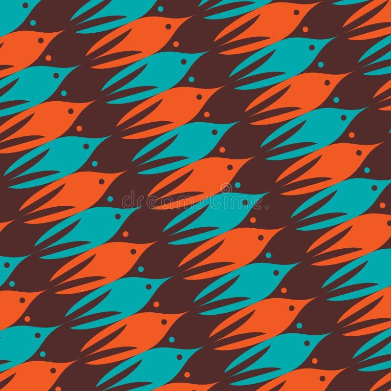 Modèle de vie marine avec les poissons bruns, oranges et bleus illustration libre de droits