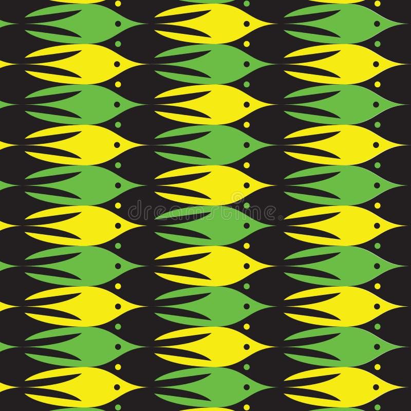 Modèle de vie marine avec les poissons jaunes, verts et noirs illustration libre de droits