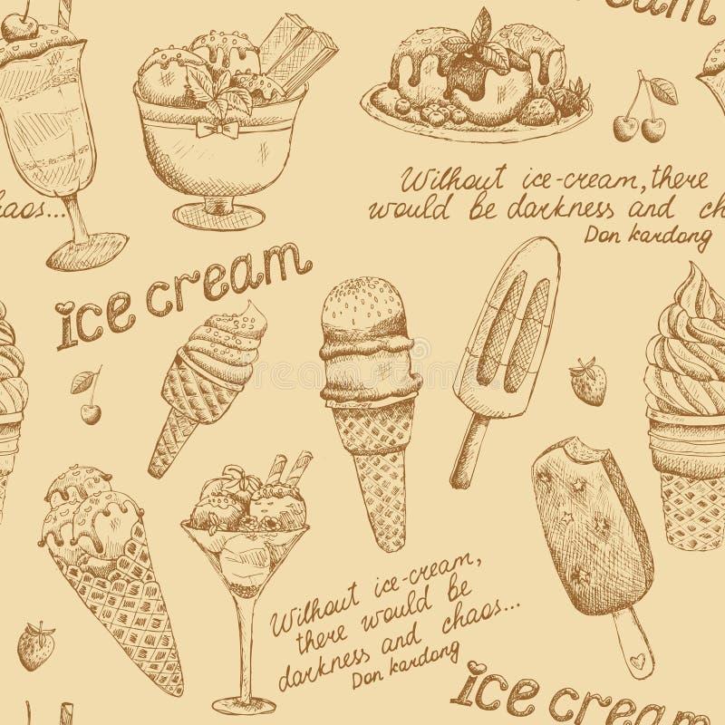 Modèle de vintage de crème glacée  illustration libre de droits