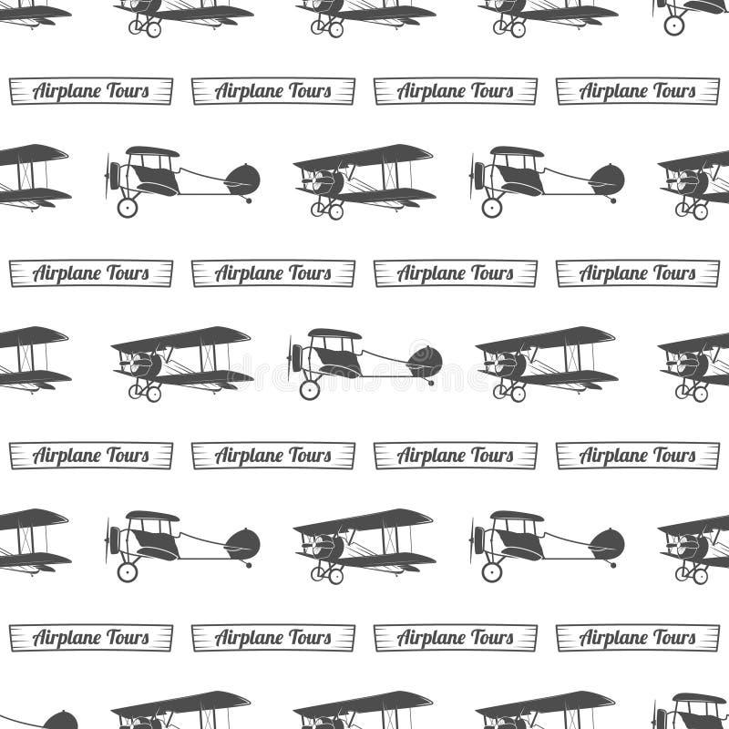 Modèle de visite d'avion de vintage Fond sans couture de vieux biplans avec le ruban Rétros éléments plats de papier peint et de  illustration libre de droits