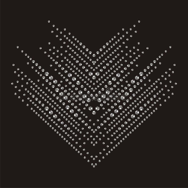 Modèle de zigzag brillant de flèche de pierres pour des bracelets de colliers Belle broche de bijoux illustration de vecteur