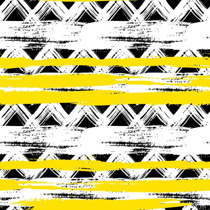 Modèle de zigzag ethnique sans couture avec des traçages illustration stock