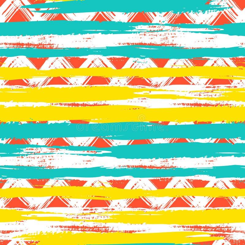 Modèle de zigzag ethnique sans couture avec des traçages illustration de vecteur