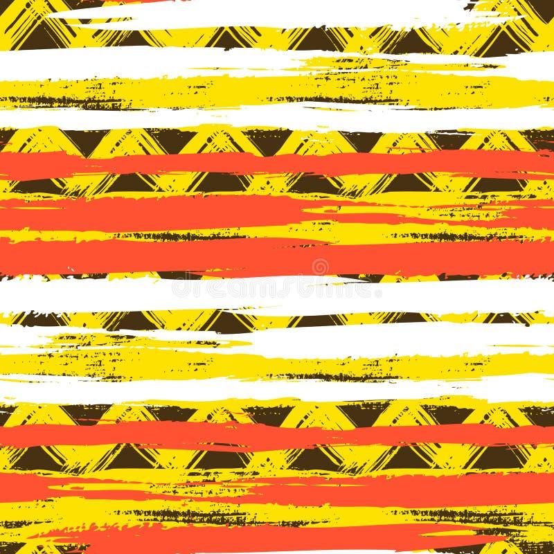 Modèle de zigzag ethnique sans couture avec des traçages illustration libre de droits