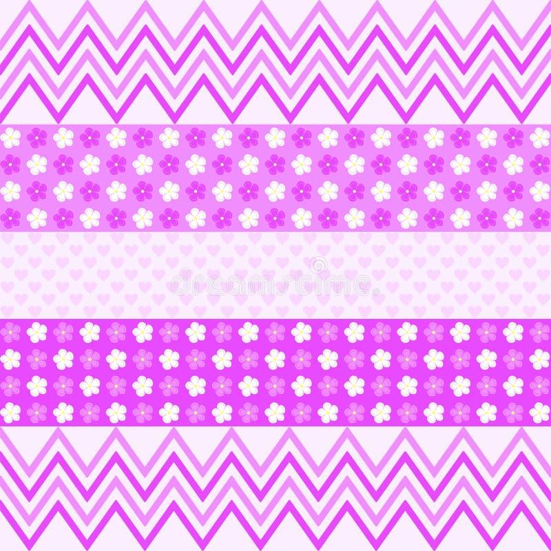Modèle de zigzag pourpre, fleurs et petits coeurs illustration stock