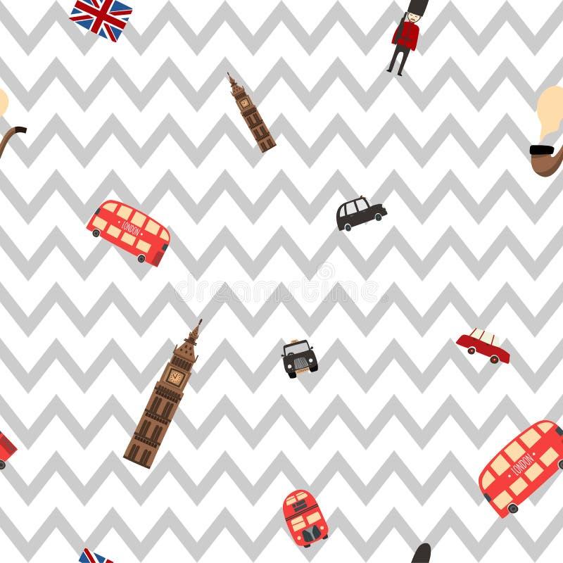 Modèle de zigzag sans couture de Londres illustration de vecteur