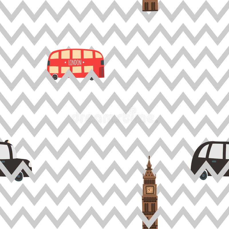 Modèle de zigzag sans couture de Londres illustration libre de droits