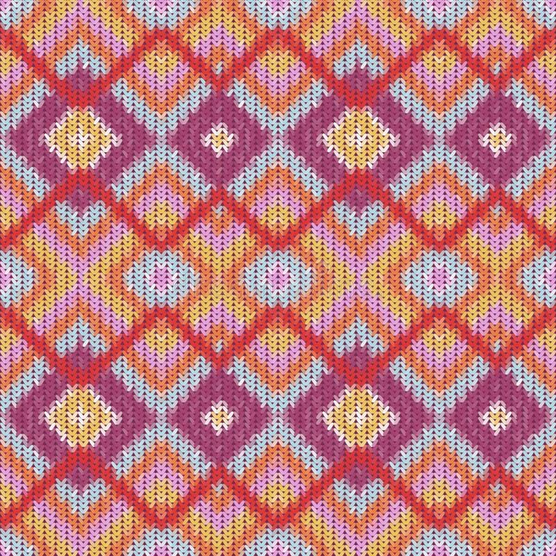 Modèle de zigzag tricoté sans couture illustration stock