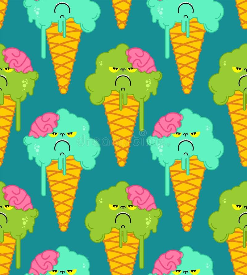 Modèle de zombi de crème glacée sans couture Fond doux gelé de vert de pistache Texture de vecteur illustration de vecteur