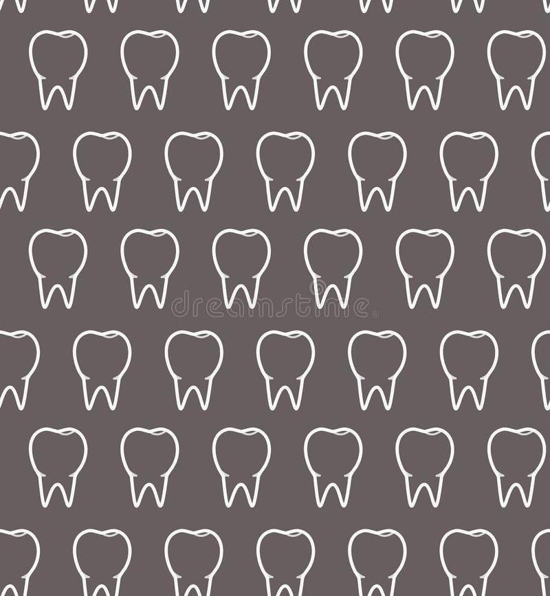 Modèle dentaire avec les dents blanches d'ensemble sur le fond gris illustration de vecteur