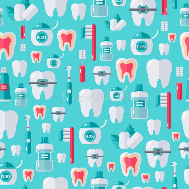 Modèle dentaire sans couture avec les icônes plates de soin de dent illustration stock