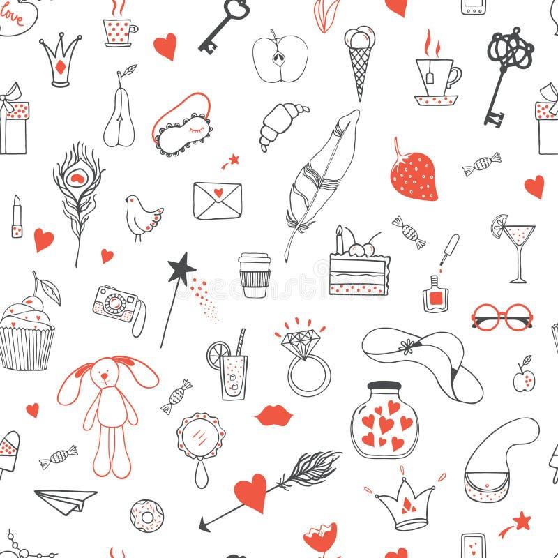 Modèle des accessoires de la fille illustration stock