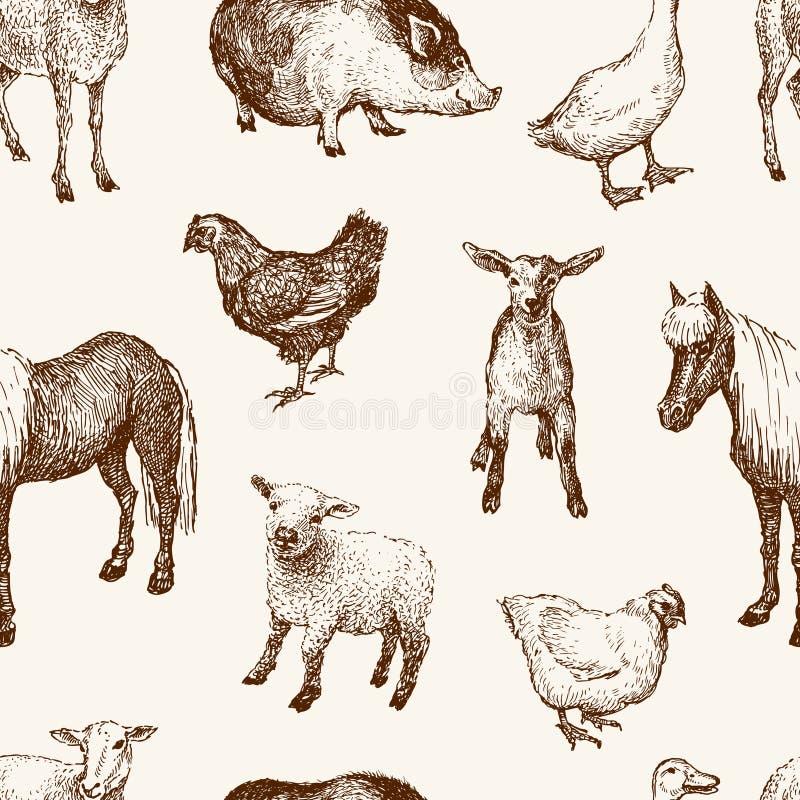 Modèle des animaux de ferme illustration stock