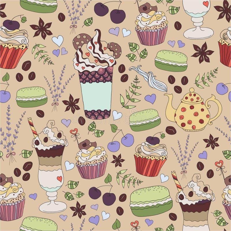 Modèle des boissons chaudes de sélection avec des gâteaux, des épices et des herbrs illustration stock