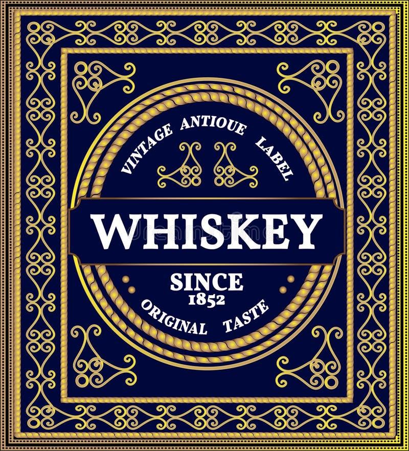 Modèle des boucles Cadre ornemental de vintage avec l'effet de jeune truie Label de whiskey illustration de vecteur