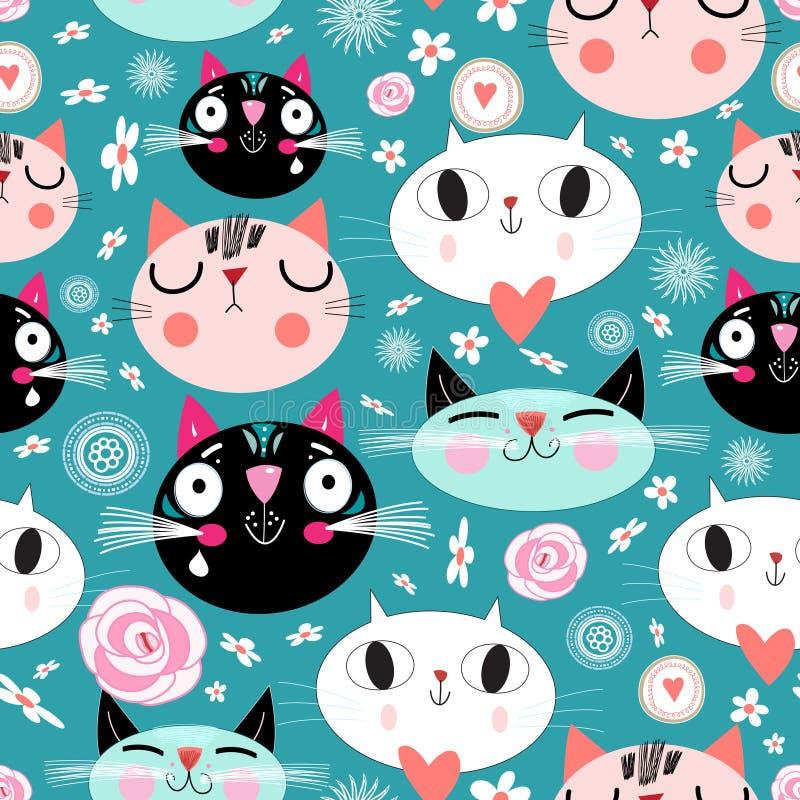 Modèle des chats drôles d'amour illustration stock