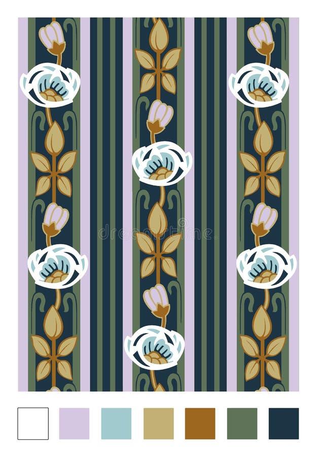 Modèle des cynorrhodons et des rayures stylisés Ornement floral de répétition vertical dans le style d'Art nouveau illustration de vecteur