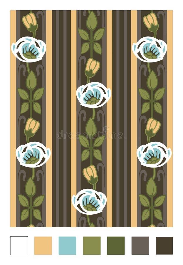 Modèle des cynorrhodons et des rayures stylisés Ornement floral de répétition vertical dans le style d'Art nouveau illustration stock