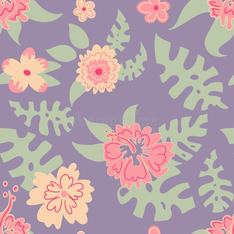 Modèle des fleurs et des feuilles, Hawaï illustration libre de droits
