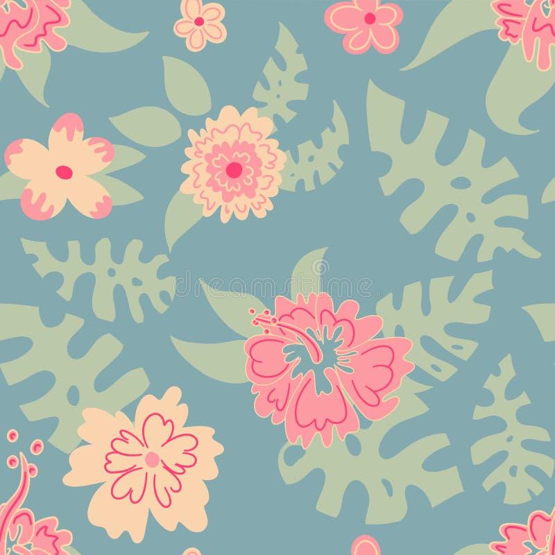 Modèle des fleurs et des feuilles, Hawaï illustration de vecteur