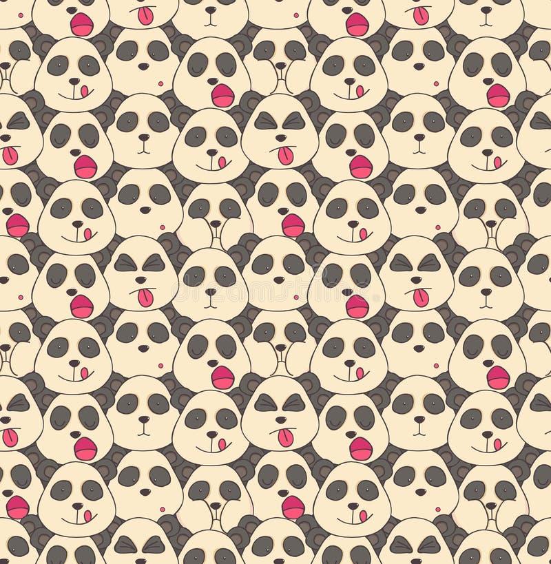 Modèle des museaux de pandas illustration de vecteur