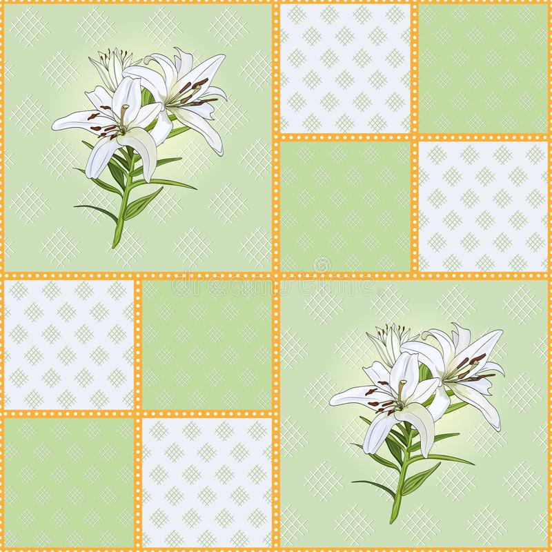 Modèle des places vertes avec la fleur de lis blanc illustration stock