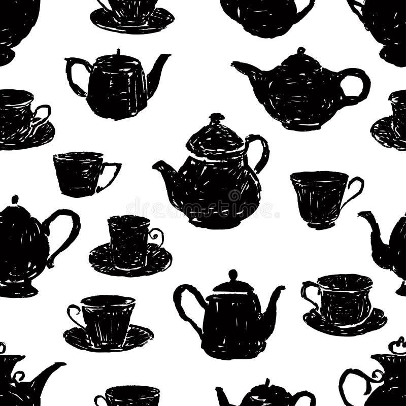 Modèle des silhouettes des tasses de thé et des théières illustration de vecteur