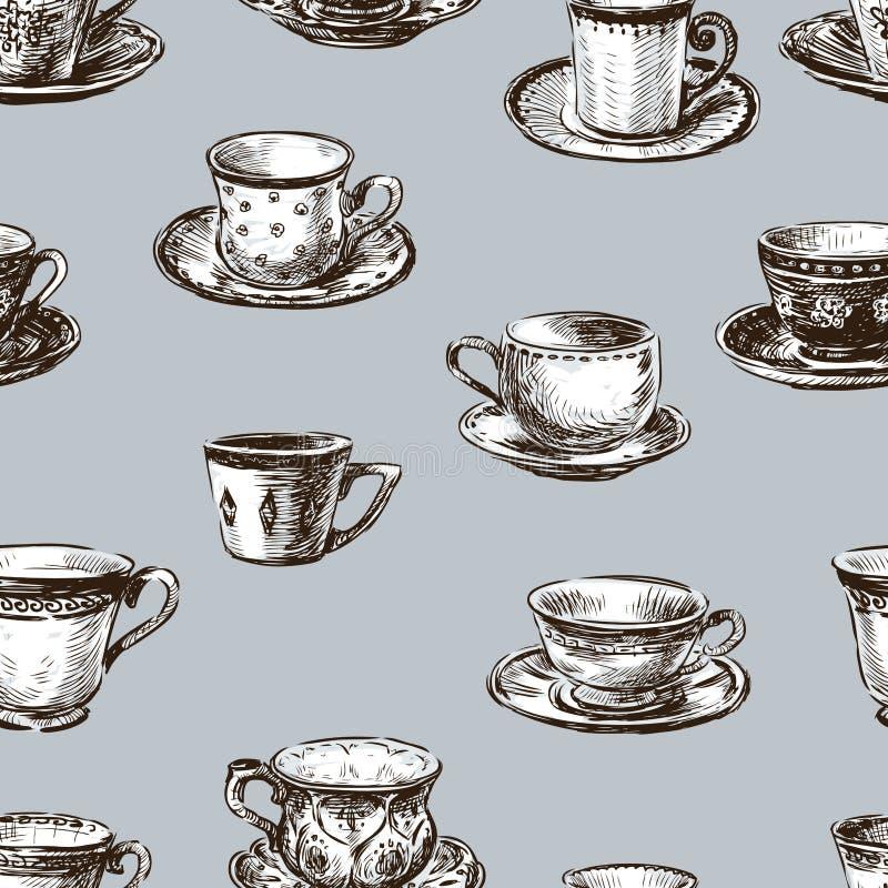 Modèle des tasses de thé illustration libre de droits