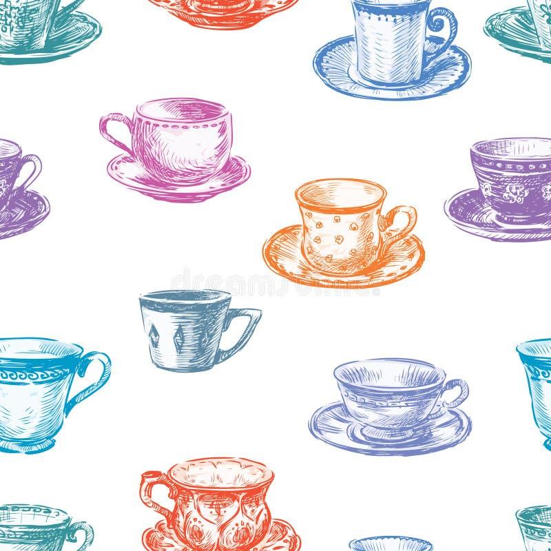 Modèle des tasses de thé illustration de vecteur