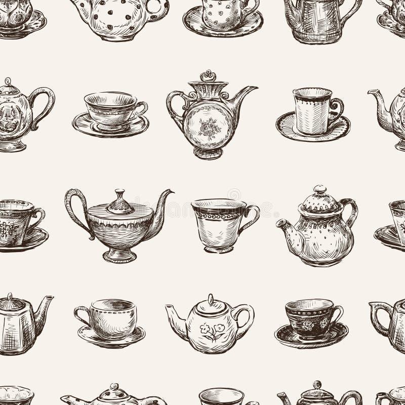 Modèle des tasses de thé et des théières illustration de vecteur