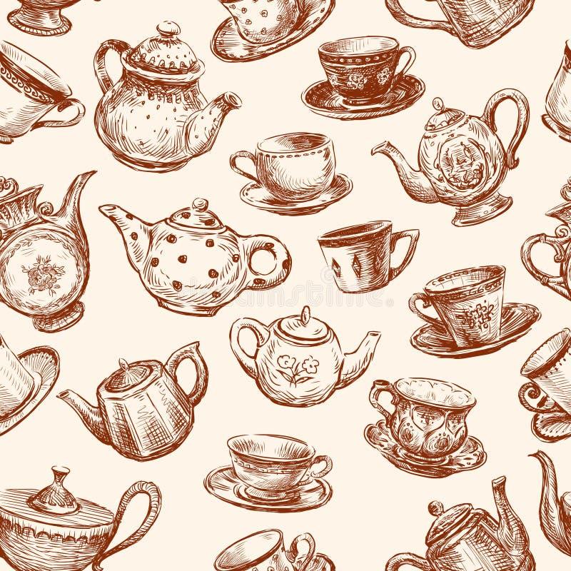 Modèle des tasses et des théières illustration stock