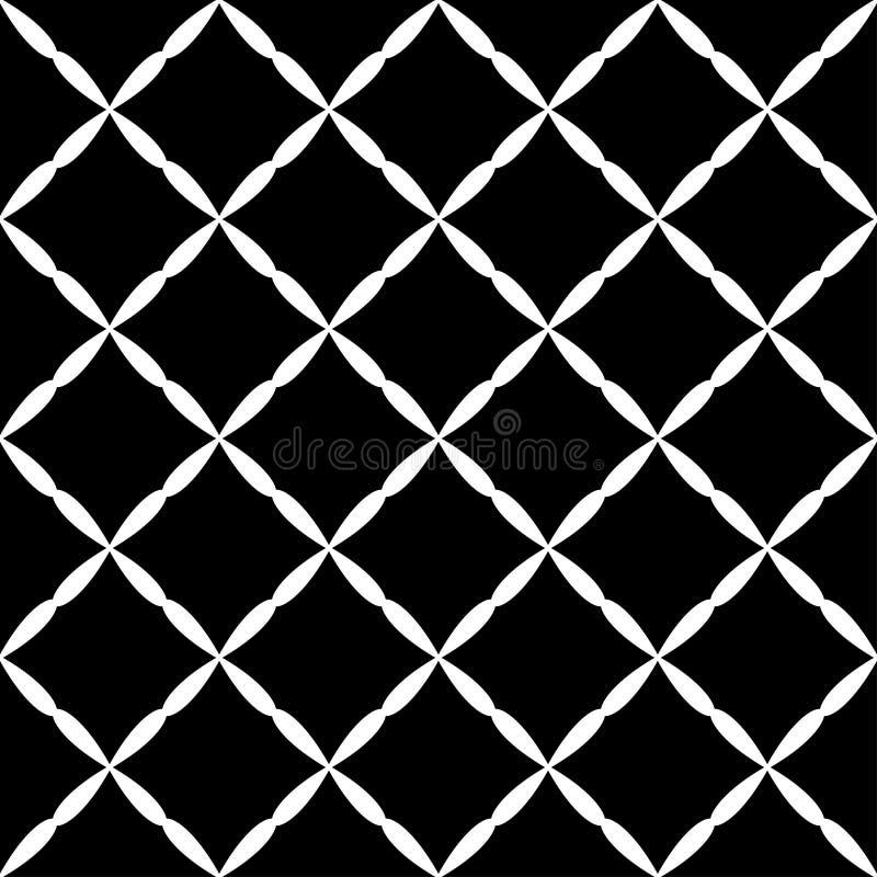 Modèle diagonal blanc noir d'art abstrait sans couture de grille illustration libre de droits
