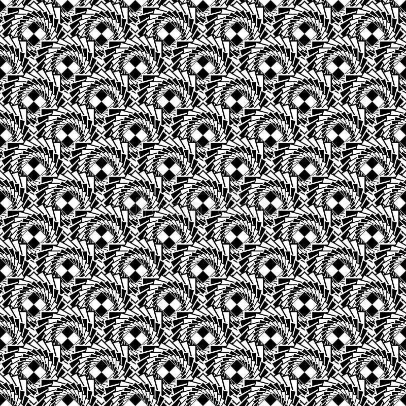 Modèle diagonal en spirale abstrait monochrome sans couture de conception illustration libre de droits