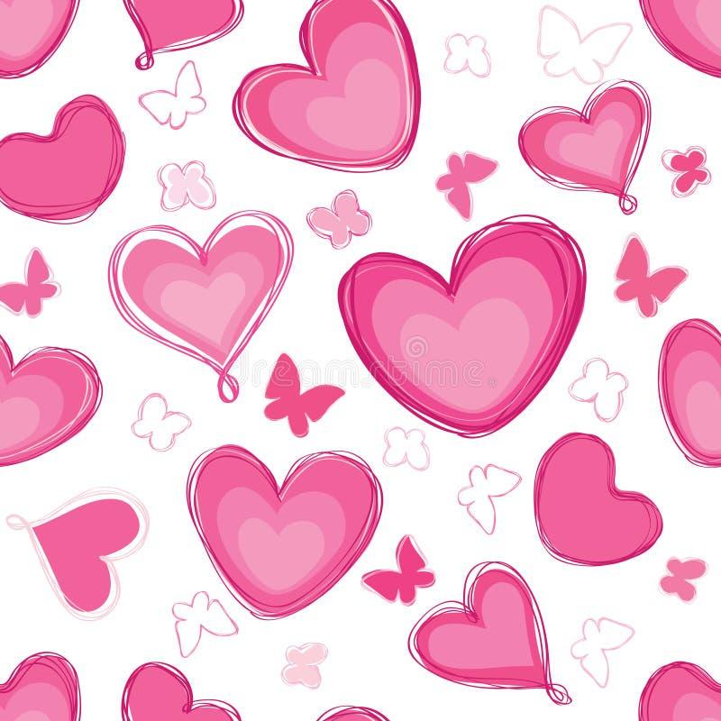 Modèle différent de forme de coeurs de griffonnage Couture de jour du ` s de Valentine d'amour illustration libre de droits