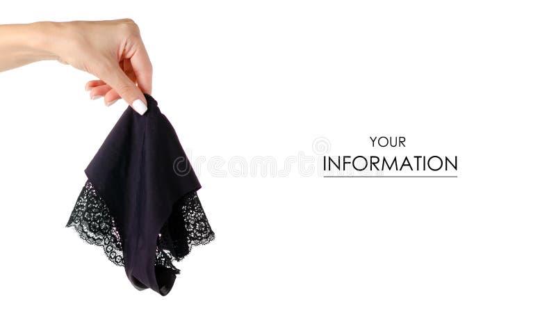 Modèle disponible de dentelle de culottes femelles noires images libres de droits