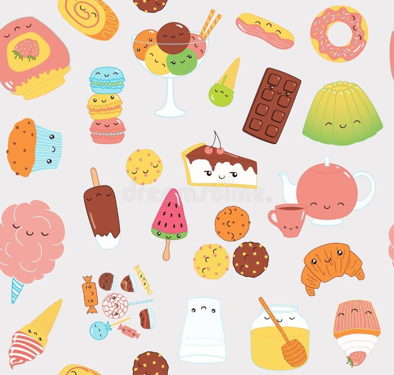 Modèle doux de nourriture de Kawaii illustration de vecteur