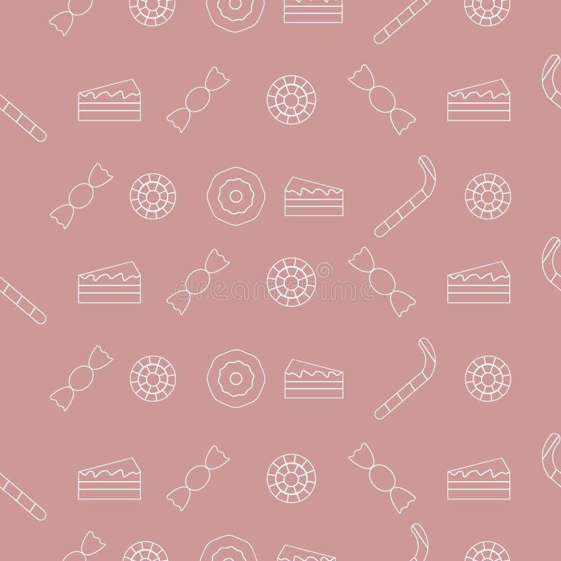 Modèle doux des lucettes, des bonbons et des gâteaux illustration de vecteur