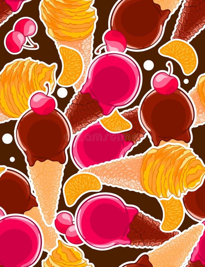 Modèle doux sans couture avec des cônes de glace, des merises agrume et des sleces d'agrume dans le style de bande dessinée illustration libre de droits