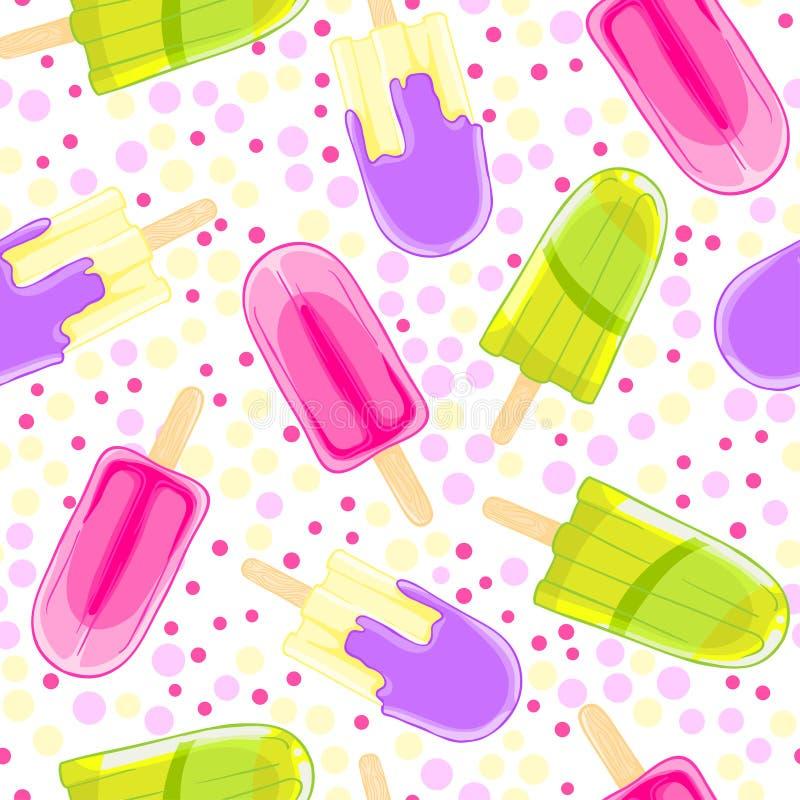 Modèle doux sans couture avec des glaces à l'eau dans le style de bande dessinée sur le fond de point de polka illustration libre de droits