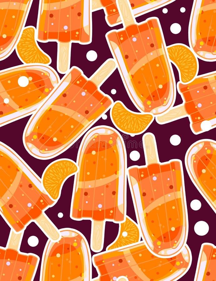 Modèle doux sans couture avec des glaces à l'eau et des tranches d'agrume dans le style de bande dessinée illustration de vecteur