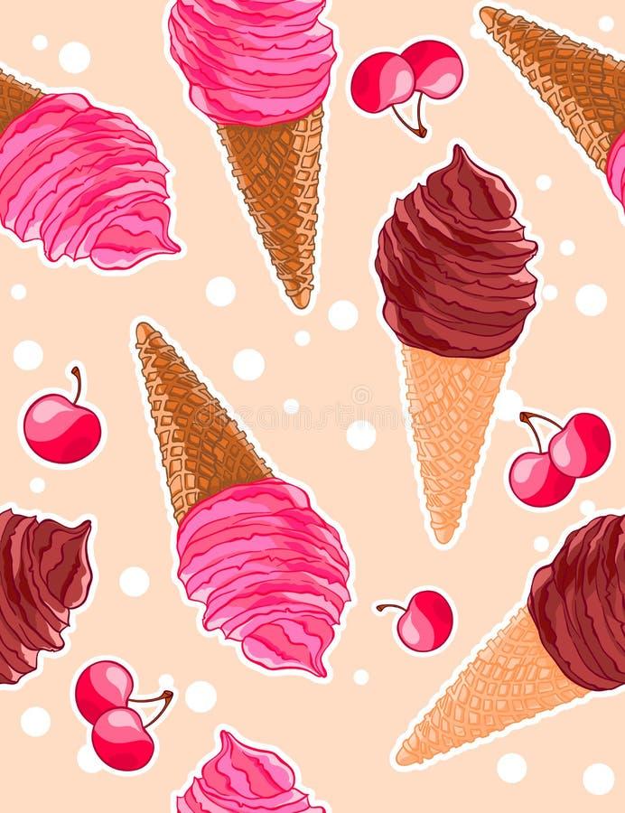 Modèle doux sans couture avec les cônes de glace de baie et de chocolat, merises dans le style de bande dessinée illustration stock
