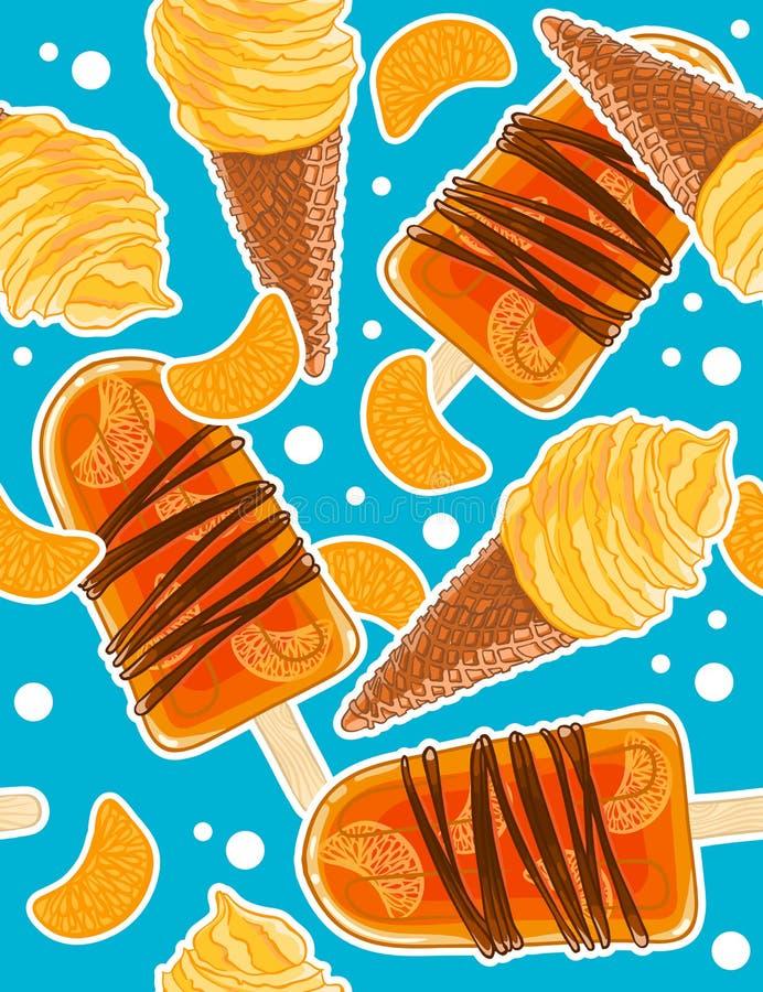 Modèle doux sans couture avec les cônes de glace, la glace à l'eau et les tranches d'agrume dans le style de bande dessinée illustration de vecteur