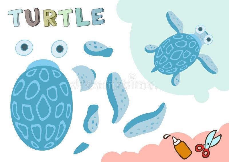 Modèle drôle de papier de tortue Petit projet à la maison de métier, jeu de papier de DIY Coupé et colle Coupes-circuit pour des  illustration libre de droits