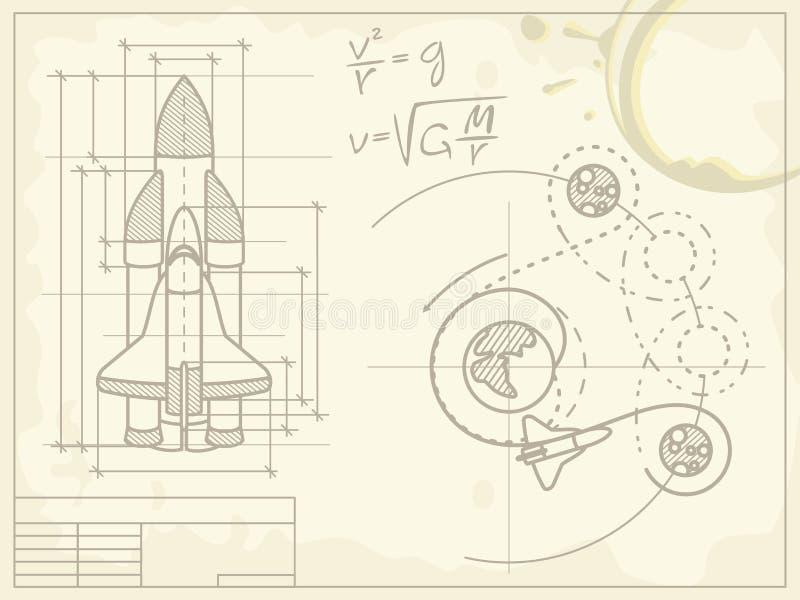 Modèle du vaisseau spatial et de sa trajectoire de vol illustration stock