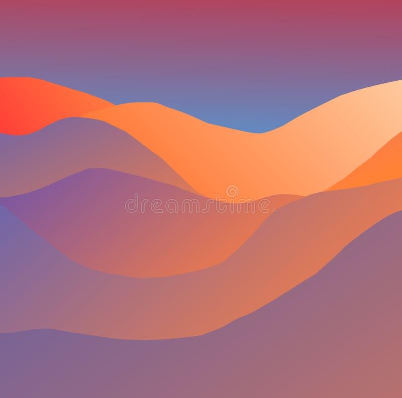 modèle dunaire orange et bleu de d illustration de vecteur