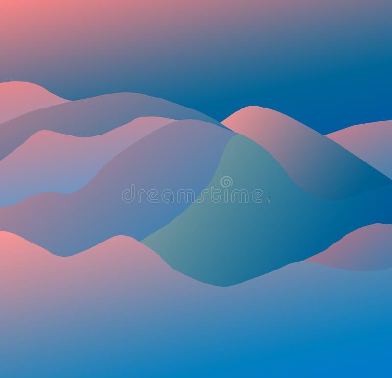 modèle dunaire rose et bleu de 3D illustration de vecteur