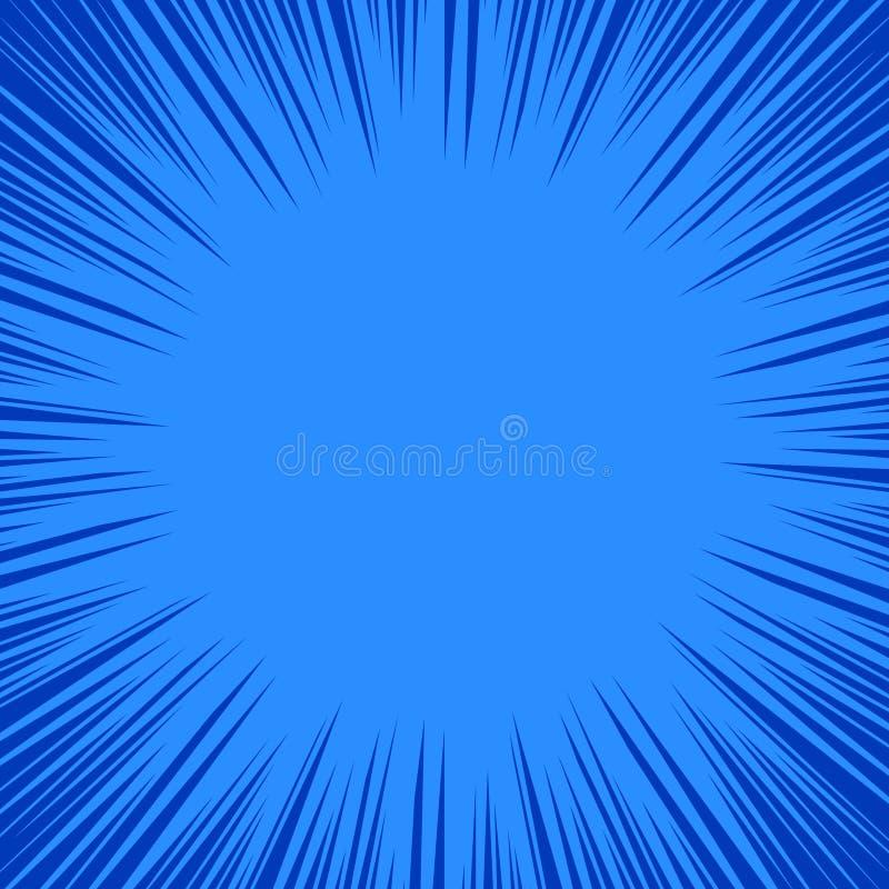 Modèle dynamique dans des tons bleus Le cadre de super héros, radial de bande dessinée raye le fond, illustration de vecteur