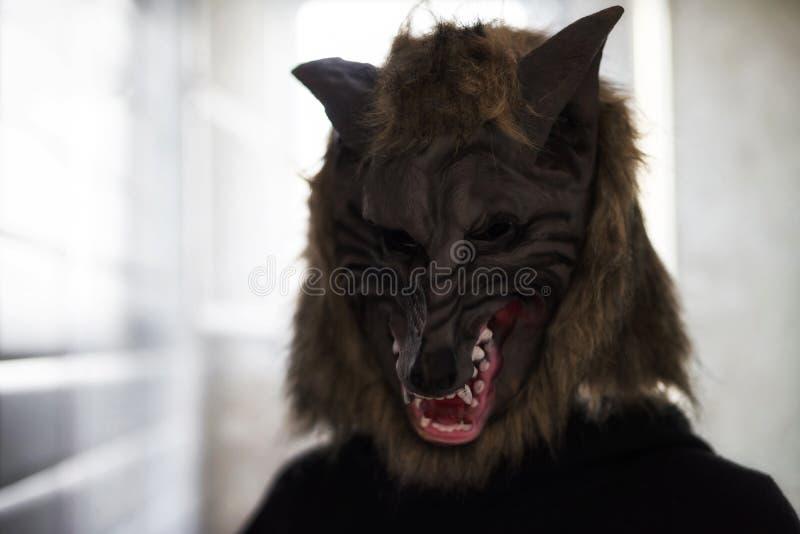 Modèle effrayant avec le masque de loup Veille de la toussaint photographie stock